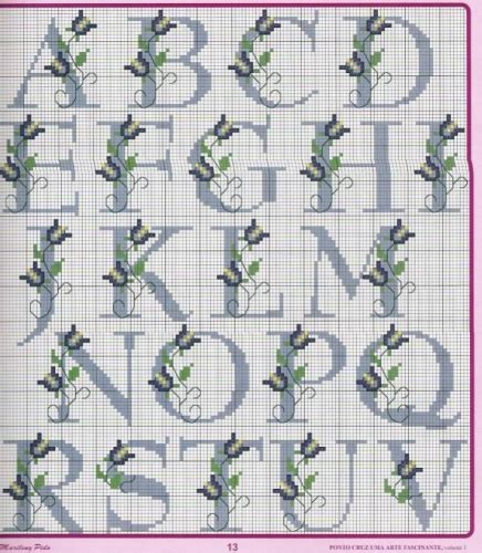 abecedario en punto de cruz para imprimir abc crossstitch pattern alfabe kanavice crosses