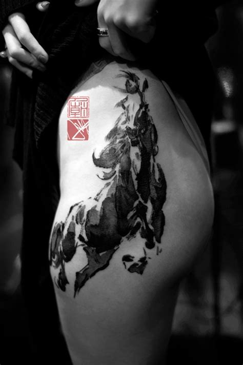 dark horse tattoo wonderful on thigh by joey pang