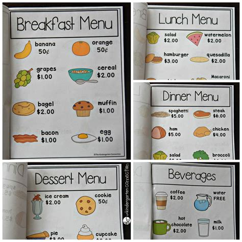 Play Kitchen Menu by Restaurant Dramatic Play The Kindergarten Connection