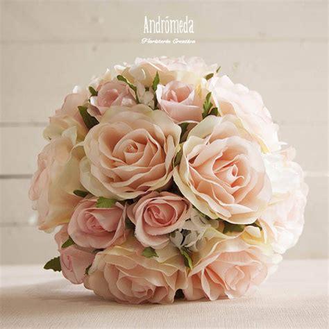 ramo de novia de rosas peach artificiales andromeda