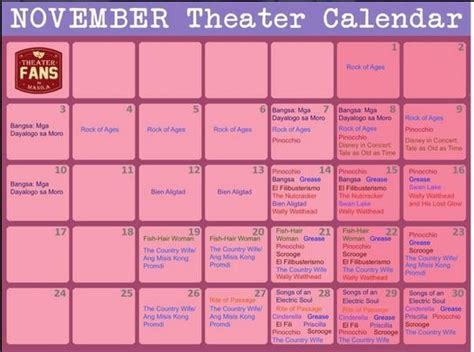 Theater Calendar November Theater Calendar The Theater Observer