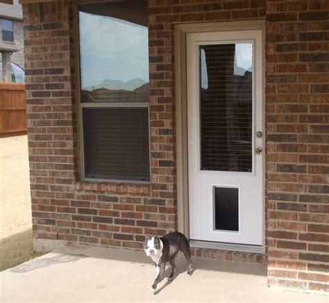 Exterior Pet Doors Exterior Door With Pet Door Installed 6 Panel Primed White Steel Entry Door With Large Pet