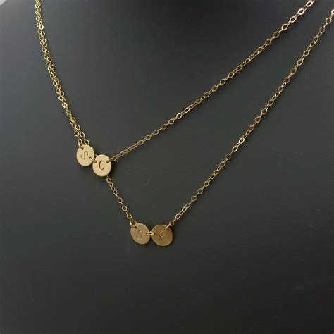 for jewelry layered initial necklace four discs 187 gosia