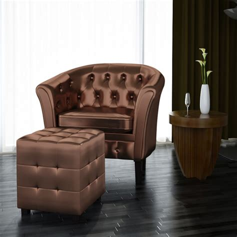 armchair with footrest artificial leather tub chair armchair with footrest brown