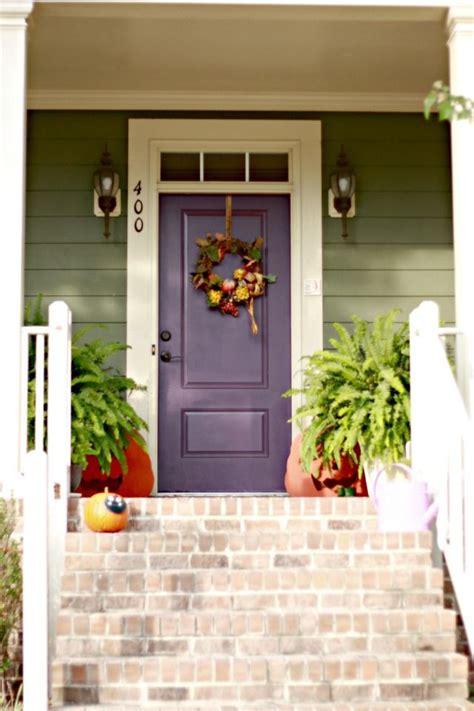 door accent colors for greenish gray sage green siding w white trim plum front door love