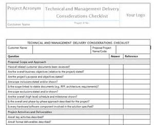 delivery checklist template define scope templates project management templates