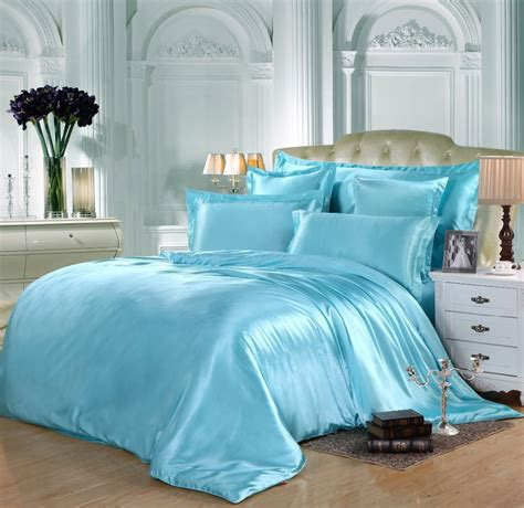 8 pieces turquoise comforter set queen king full twin satin silk bedding set freely match your