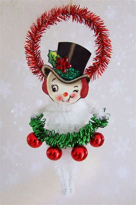 mr snowman christmas ornament feather tree