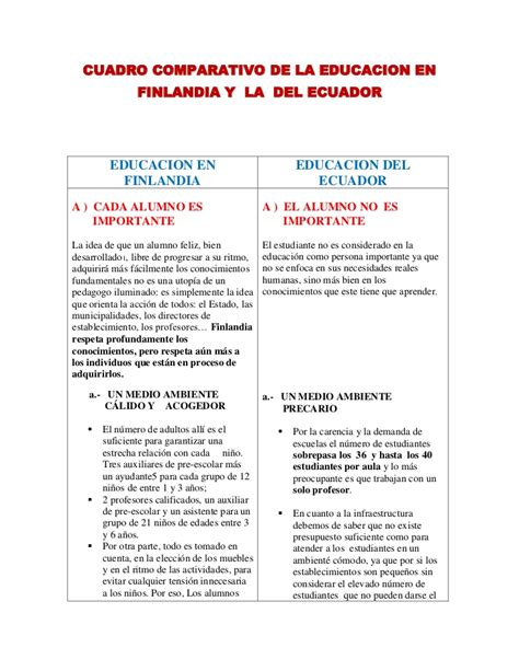 cuadro comparativo leyes de educacion en argentina cuadro comparativo de la educacion finlandesa con la del