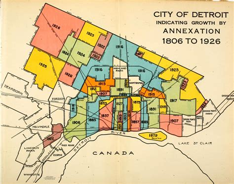 maps detroit map color coded detroit growth by annexation detroitography