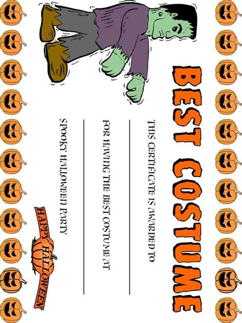 best costume award fun free printables pinterest