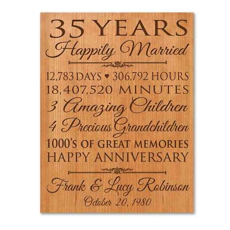 Wedding Anniversary Gift For by 35th Wedding Anniversary Gift Ideas For Parents Wedding