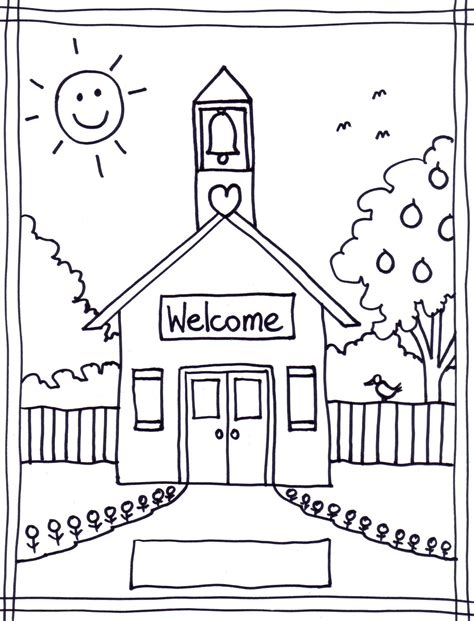 schoolhouse coloring sheet stushie art