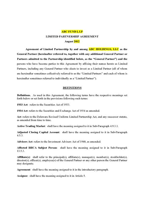 limited partnership agreement template delaware limited partnership agreement 45 pg