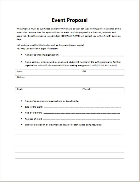 event proposal template for word word excel templates