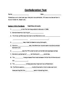 confederation quiz grade 8 history confederation of canada test by marie modica tpt