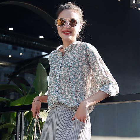 2017 new fashion printed designs half sleeve chiffon