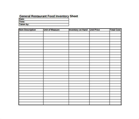 Inventory Sheet Template 14 Free Excel Pdf Documents Download Free Premium Templates Restaurant Inventory Sheet Template