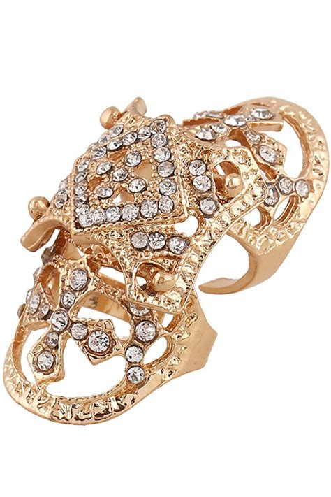 Rhinestone Knuckle Ring rhinestone cross cutout knuckle ring 020225 rings for