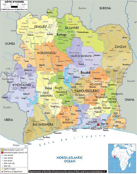ivory coast map political map of ivory coast ezilon maps
