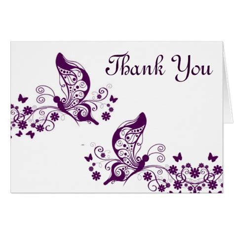 purple thank you card templates purple butterflies thank you card zazzle