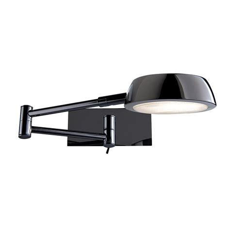 swing arm wall lights uk searchlight 3863bc black chrome low energy swing arm wall