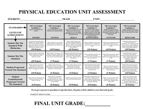 physical education report card template assessments phys ed review