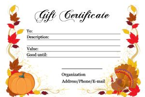 Fall And Thanksgiving Gift Certificate Templates Turkey Voucher Template