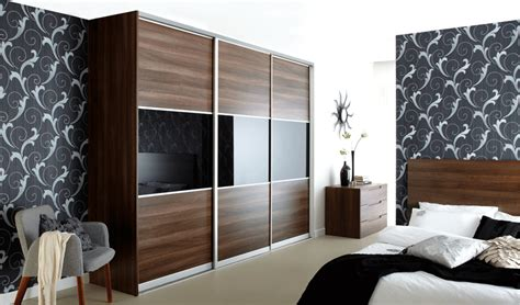 Wooden Door Designs by Dark Walnut With Black Glass