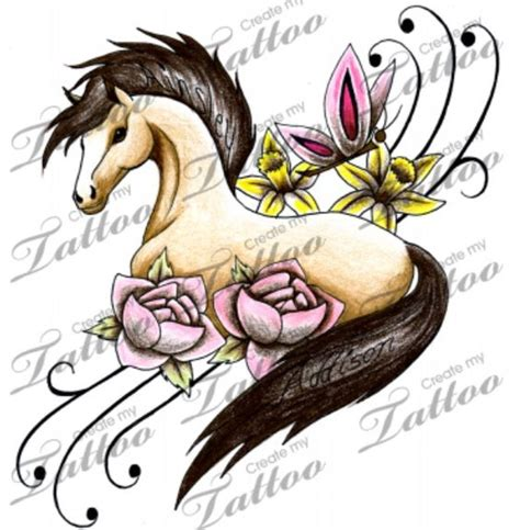 cartoon horse tattoo fairy horse tattoo with name in the maine and tail horse