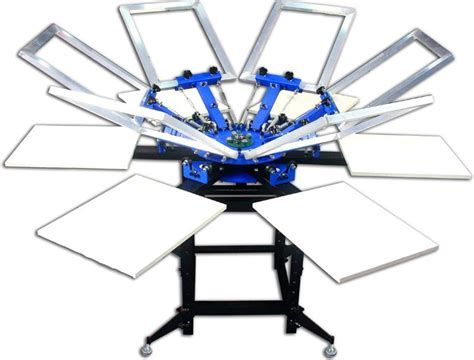 6 color screen printing press manual 6 colors 6 stations rotating screen printing press