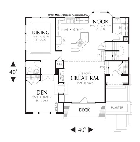 great room house plans one story mascord house plan 22109 the anson