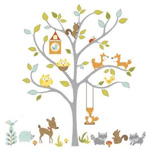 Woodland Wall Stickers Giant Woodland Fox Amp Owls Wall Decals Baby Forest Animals