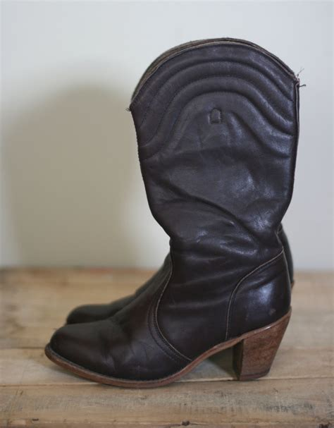 vintage s brown leather high heel cowboy boots by