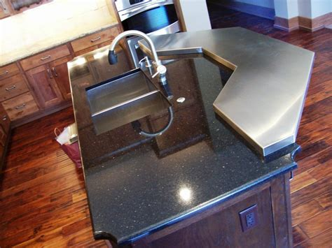 Steel Bar Top Black Galaxy Island With Stainless Steel Bar Top From