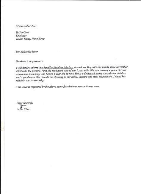 Reference Letter Domestic Worker termination of employment letter domestic worker south