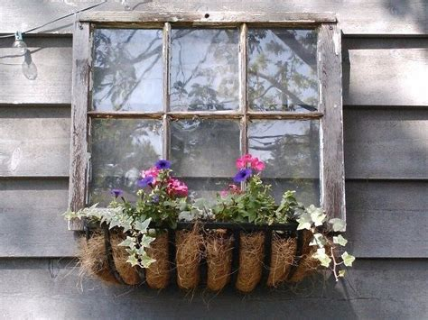 shed building  easy window box flowers fake window