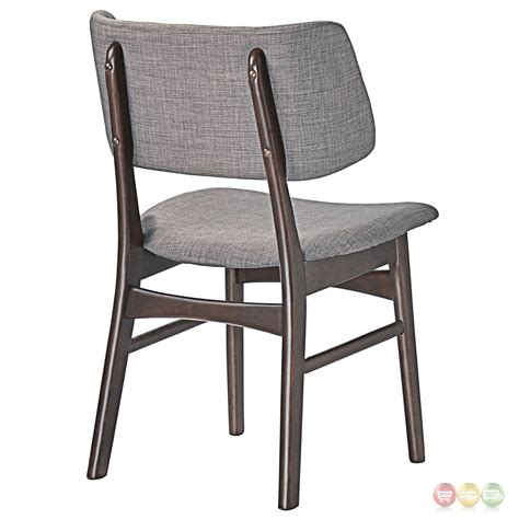 Upholstered Dining Side Chairs Set Of 2 Vestige Vintage Dining Side Chair W Linen Upholstered Seats Walnut Gray
