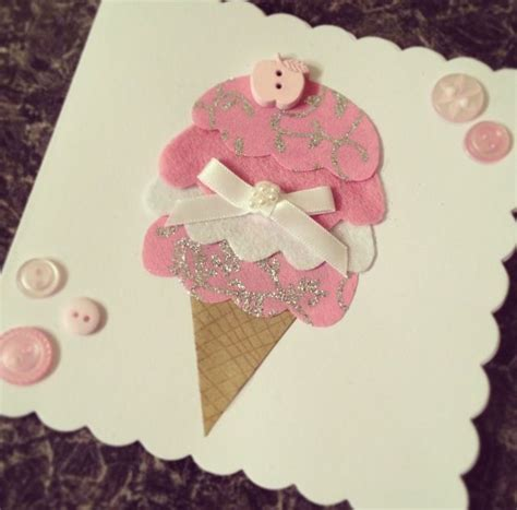 Felt Paper Craft - handmade diy birthday card button felt paper craft