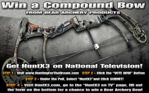 Free Compound Bow Giveaway - huntx3 bear archery giveaway bowhunting net