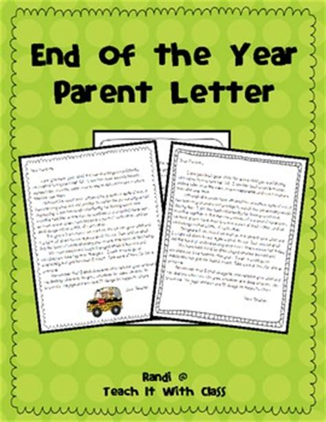 Thank You Letter To End Of Year End Of The Year Parent Letter By Randi Teachers Pay Teachers