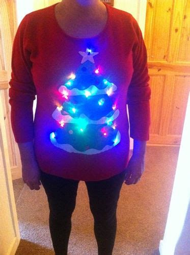 Christmas Jumper Novelty Hand Made Xmas Tree With Lights Novelty Light Up Jumpers