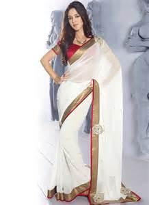 graceful faux chiffon white saree