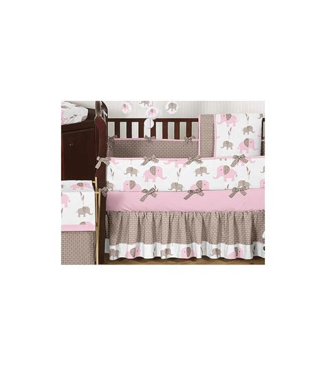 pink elephant crib bedding set sweet jojo designs elephant pink 9 crib bedding set