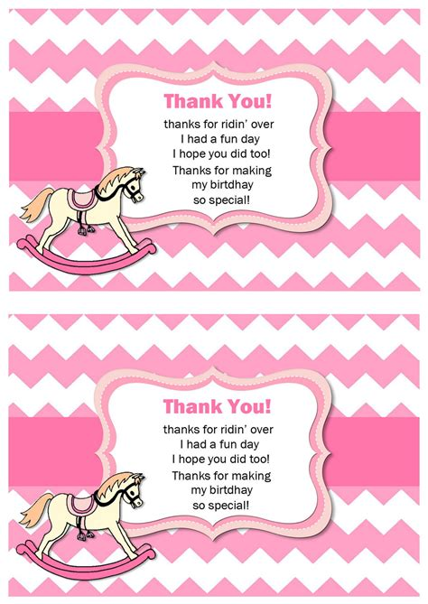 printable thank you cards horse horse thank you cards birthday printable