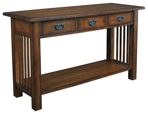 Hammary Canyon Sofa Table In Mission Oak Craftsman Mission Sofa Table