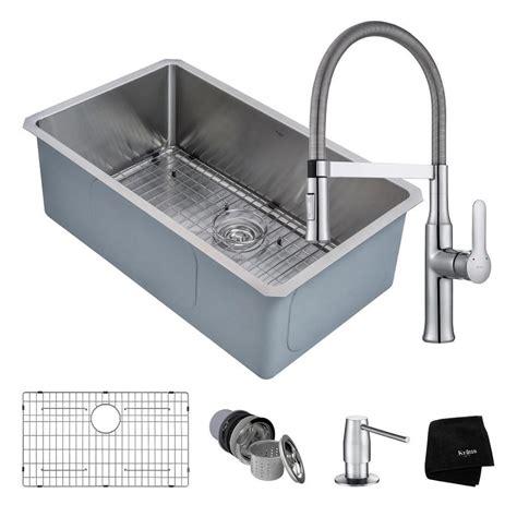 shop kraus stainless steel kitchen faucet stainless steel shop kraus handmade 18 in x 30 in satin single basin