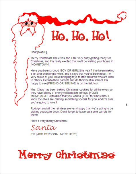 Letters From Santa Templates Cyberuse Letter From Santa Template