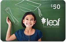 College Savings Gift Card - leaf college savings launches education gift card