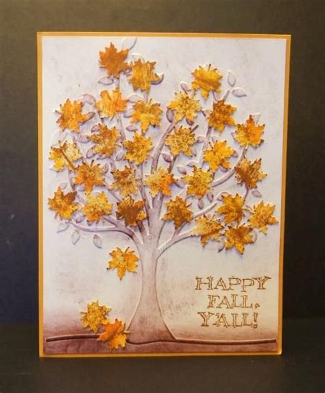 embossing folder fall and handmade cards on